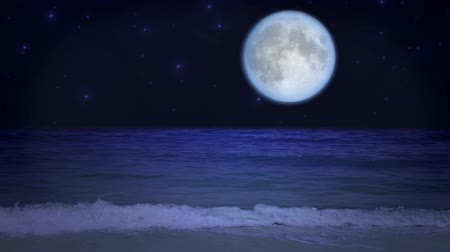 полный : Mystical moon on the beach with twinkling stars