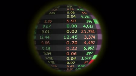 gün : Stock market  globe loop Stok Video