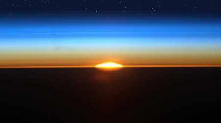 morning : Colorful and realistic sunrise with starfield as seen in outer space