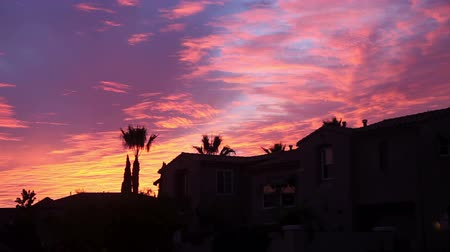 sunset city : Beautiful sky at sunset, San Diego Stock Footage