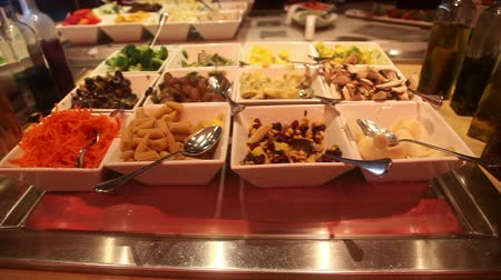 placas : Pan over appetizer and salad bar, South America style