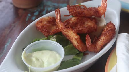 Typical Caribbean coconut shrimp dish
