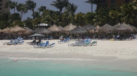 Windy weather at Palm beach, Aruba, the Caribbean, busy with people swimming , sun bathing, view from the ocean, pan. Vídeos