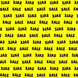 ceny : a black word sale on a yellow background