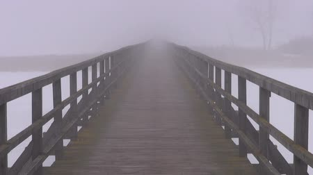 üres : empty wooden bridge on winter lake ice and morning  fog