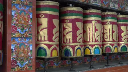sürgün : beautiful Tibetan buddhist prayer wheels in Dharamsala, Himachal Pradesh, India