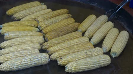 milho : cooking corn cobs in big metal pot on agriculture market Stock Footage