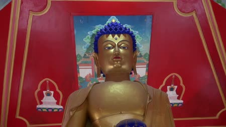 sürgün : golden Buddha eyes in Dharamsala temple, India