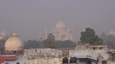 vervuiling : smog en mist in stad Agra, India Stockvideo