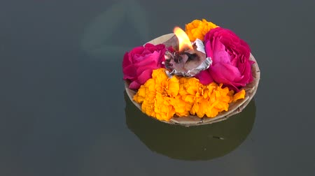 sagrado : hinduism religious ceremony puja flowers and candle on Ganges water, India