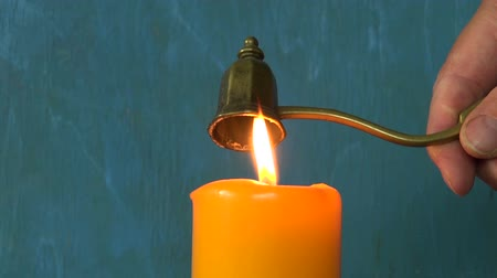 extinguishing : Retro Brass Sniffer Bell tool for extinguishing candles flame Stock Footage