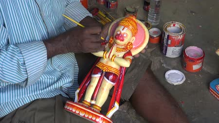 incarnation : India, Odisha, Puri – December 29: indian craftsman in Puri make new Lord Jaganath statue,December 29, 2013 Puri, Odisha, India Stock Footage