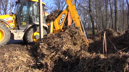 unearth : LITHUANIA, PANEVEZYS DISTRICT - NOVEMBER 14, 2013: yellow excavator tractor remowing earth near pond in park. November 14, 2013, Panevezys district, Lithuania Stock Footage