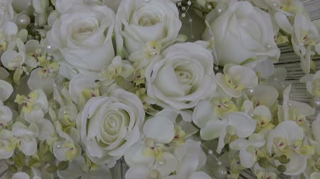 Роуз : wedding white beautiful rose bouquet floral florist composition Стоковые видеозаписи