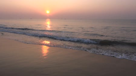 evening sun : beautiful Arabian sea sunrise in south India beach