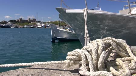 rhodes : rope and boats on Rhodes island port harbor DodecaneseGreece