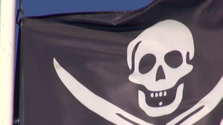 kafatası : Pirate flag with a skull and bones waving in the wind