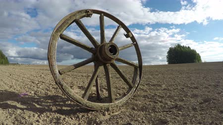 sáně : one old broken wooden horse carriage wheel on farmland field and autumn clouds motion. Timelapse 4K Dostupné videozáznamy