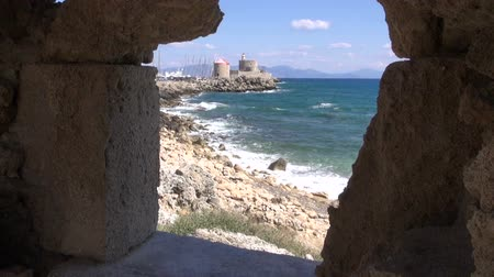 rhodes : Antique Rhodes fortress in Greece by the sea filmed from ancient building window