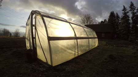 autumns : Polyethylene greenhouse in the homestead on cloudy autumns evening, time lapse 4K