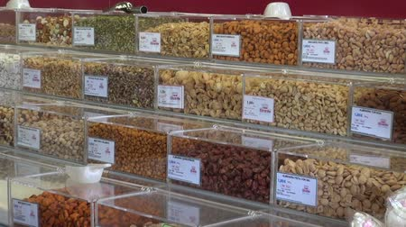 otruby : TENERIFE , CANARY ISLANDS, SPAIN  November 2015 - Various nuts, seeds and sweets in the market Dostupné videozáznamy