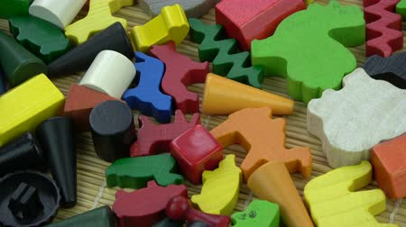 головоломки : Rotating various child wooden and plastic toys colorful background