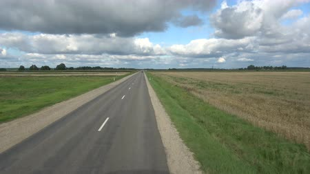 автобус : Asphalt road view from bus window in summer end, speed background