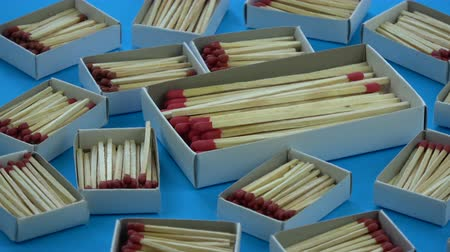enxofre : Rotating many various safety-match matchbox collection background Stock Footage