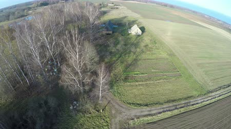 cropland : Drone fly up over autumn  farmland landscape with trees and small old homestead ,aerial view