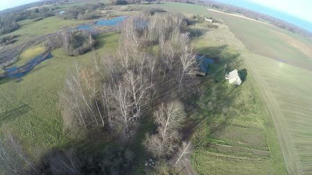 arı kovanı : Aerial view above autumn farmland with groves and small old homestead and puddles