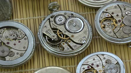 collectable : Old pocket clock watch group rotating on mat