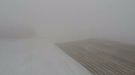 겨울의 : Misty winter morning farmland field with stubble and snow, aerial view