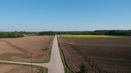 plowed land : Rural gravel road in early spring, farmland landscape, aerial view Stock Footage