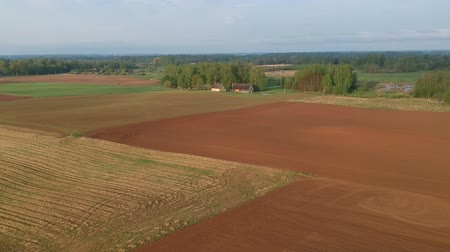 tillage : Spring farmland landscape with plowed fields, aerial view