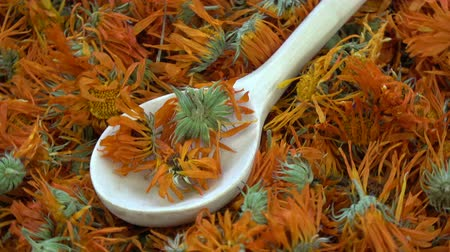 homeopati : Rotating dried marigold calendula medical flowers background with wooden spoon