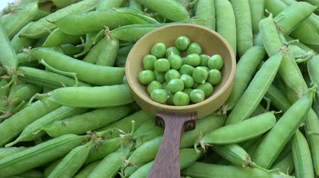 bezelye : Rotating food background - Green pea pods and peas in wooden spoon Stok Video