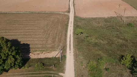 ダート : Dry farmland gravel road in summer end, aerial view