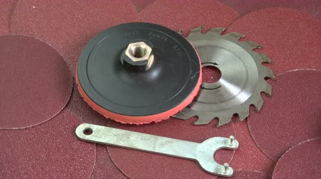 lemezek : Rotating sanding discs and other grinder tool industrial equipment background