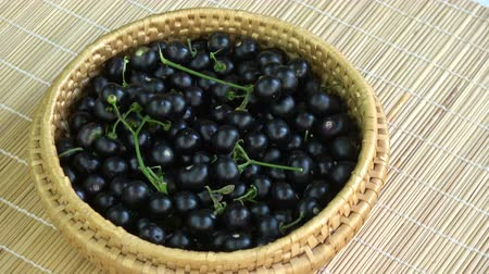 bamboo basket : Rotating wicker basket plate with black nightshade Solanum nigrum berries Stock Footage