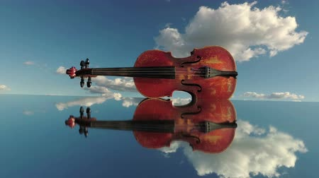 симфония : Vintage violin on mirror in space and clouds motion. Music and nature concept, time lapse
