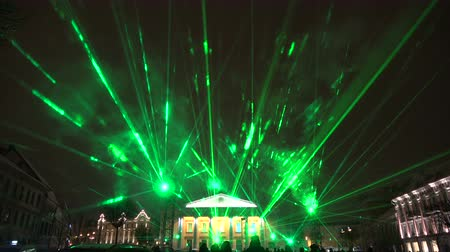 peoples : Vilnius light festival, Vilnius town hall square with  laser green lights and peoples, 2019