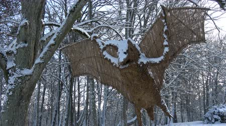 kamış : Beautiful  handmade decorative bat from straw and reeds in winter city park Stok Video