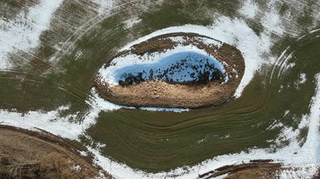 speleology : Karst sink hole in agriculture field in winter end, aerial view