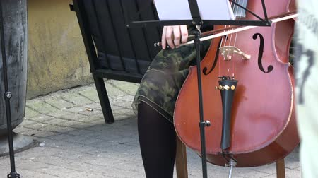 dvojitý : Annual Vilnius street music day.  Musician hands playing classical music with double-bass in Vilnius street.