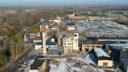 zsrr : Abandoned derelict soviet factory in Lithuania province, aerial view