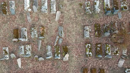 jodendom : old historical karaim and jewish cemetery in Birzai, Lithuania, aerial view