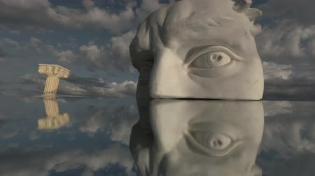 フラグメント : Plaster cast head fragment with eyes for drawing on mirror with column symbol and clouds motion, time lapse