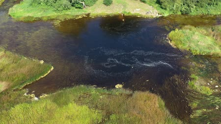 Литва : Weak drained summer river stream, aerial view