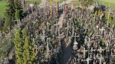 crucifixo : Lithuanian pilgrimage site iconic hill of crosses, aerial view