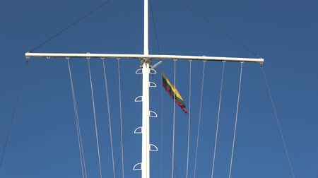 flag of lithuania : Lithuanian national flag in wind in sea port on flagpole